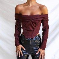 56756 Femmes à l'épaule Satin Corset Tops Blouses à manches longues Chemises Vin élégant Shirts Sexy Backless Highless Top