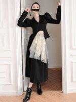 Autumn Two Piece Dress Black Elegant Irregular Blazer Skirts Sets Office Lady Casual 2PCS Set Puff Sleeve Slim Jacket + Lace Stitching Skirt