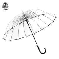 FGHGF Yüksek Kalite Şeffaf Büyük Uzun Sapı 16 Kaburga Şemsiye Erkek Kadın Yağmur Moda Katı Otomatik Yaratıcı Yağmur Temizle 210320