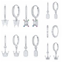 Dangle & Chandelier GS 925 Sterling Silver Zircon Butterfly Pendant Earrings Square Crystal Plate Star Moon Crown Charm Drop Gift