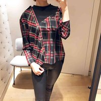 fake winter French and maje stitching 18 autumn two irregular plaid shirt off shoulder sleeve loose top