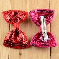 Nuevo Navidad 19 Colores 30 unids / lote Bordado de lentejuelas Arcos con clip para bebés Regalos de Navidad Regalos de Navidad Cabello para niños Accesorios DIY 297 K2