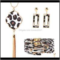 & Necklace Sets Jewelryleopard Jewelry Set For Women Leopard Leather Bracelet Teardrop Dangle Earrings Long Tassel Pendant Necklace1 Drop De