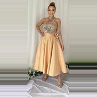 Shinny Sequins Top Prom Dresses Halter Neck Sleeveless Homecoming Party Gowns Tea Length A Line Special Girls' Cocktail Dress