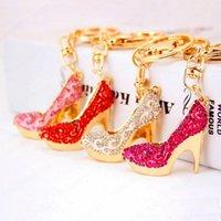 Fashion Crystal High Heels Shoes Key Chains Rings Holder Flower Enamel Bag Pendant For Car Keyrings KeyChains