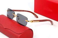 Mens óculos de sol quadrado quadro completo óculos 2021 Moda Eyewear acessórios ornamentais de madeira adumbral multi com caixa original