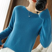 2021 winter new women's sweater solid color round neck pullover casual trend inner knit bottoming shirt loose top G1008