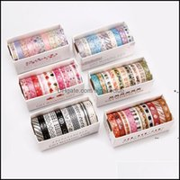 Other Festive Party Supplies Home & Garden10Pcs Set Gold Foil Washi Tape Cute Masking Decorative Sticker Scrapbooking Diy Stationery Adhesiv