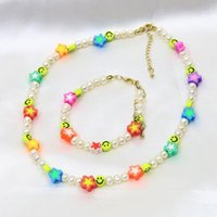 Earrings & Necklace 3 Set Jewelry Beaded Chain Pearls Neclace And Bracelets For Women MIx Color 9945