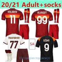 Adulto + Meias Jersey Jersey Zaniolo Roma Dzeko Pastore Roma Totti Kluivert Kolarov As 20 21 Camisa de Futebol Homens + Kit Kids Uniformes Maillot 999