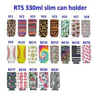 21 Style 12oz Slim Can Cooler Sleeves Handle Holder Neoprene Insulated Tall Skinny Cans Slim Beer Spiked Seltzer Bottle Covers MMA199
