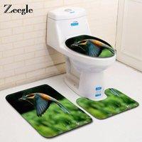 Tapetes de banho Zeegebos 3 pcs / set padrão de pássaro Pattern Seat Cover Cobertura Colorido Pena Banheiro Tapete Anti-Slip Chuveiro Absorvente