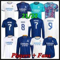 Real Madrid Jerseys 21 22 Camisa de Futebol de Futebol Alaba Hazard Sergio Ramos Benzema Asensio Modric Marcelo Camiseta Men + Kid Kit 2021 2022