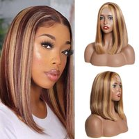10 12 14inch Highlight Bob Wigs for Black Women Synthetic Lace Closure Wig Straight Hair Wig Honey Blonde Brown Ombre Bob Wigfactory direct