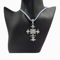 Pendant Necklaces Blue Crystal Vintage Cross Necklace With 3mm Flat Faux Suede Leather Cord Fashion Jewelry