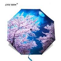 مظلات مثل طوي المرأة فان جوخ اللوحة الصينية الفن ساكورا المطر النساء يندبروف مكافحة uve parasol YHS03