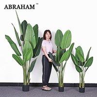 160 cm Büyük Yapay Muz Ağacı Tropikal Sahte Bitkiler Palmiye Yaprakları PU Monstera Yeşil Plastik Kapalı Ev Ofis Dekor Dekoratif Çiçek Için