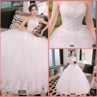 2021 Robe demariage white tulle ball gown wedding dress strapless sweetheart neck beaded ruched elegant bridal gowns princess puffy corset bride dresses on sale