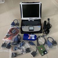 Interfaccia Nexiq 125032 Collegamento USB Scanner per camion pesanti Software per utensili diagnostici con laptop CF19 Touch Screen RAM 4G Cavi completi