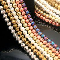 8mm Gümüş Altın Metal Renk Kaplama Gevşek Lava Taş Boncuk Takı Yapımı Aksesuarları Bilezik için