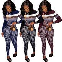 Mode Frauen Trainingsanzüge Fall Plaid 2 Stück Sets Langarm Crop Tops + Hosen passende Frauen Outfits Kleidung Streetwear