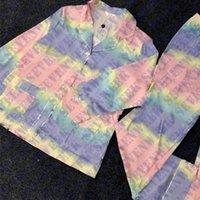 Variopinto Lettera Donna Sleepwear Pigiama Set Homewear Manica Lunga Seta Satinata Pajama Pigiama Sexy Ladies Home Abbigliamento Due pezzi Set