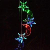 Lámpara solar Chime Color Color Cambiar Light Mobile Moon Star Led para patio Lámparas de Pared al aire libre