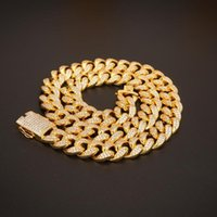 20mm Miami Box Clasp Cuban Link Chain Gold Silver Necklace Iced Out Cubic Zirconia Bling Hip Hop For Men Jewelry Chains