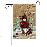 new Christmas flag series pattern Christmas Snowman Garden Flag Banner Flags 47*32cm Christmas Party Supplies ZZD8865