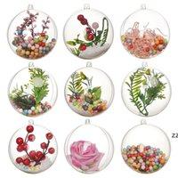 Noel Süslemeleri Topu Hollow Şeffaf Plastik Top Dekorasyon Noel Ağacı Süsleme DIY Noel Temizle Topu Kolye HWE9452