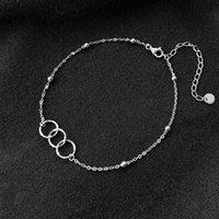 Original Design Kreis Fußkettchen 925 Sterling Silber Womens Einfache Mode DIY Feinschmuck Valentinstag Geschenke Fußklets