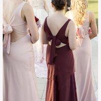 Light Pink Long Bridesmaid Dresses Sleeveless Backless Wedding Wear Sheath V-neck
