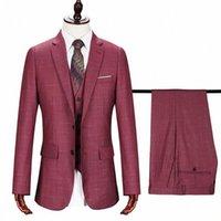 2020 2020 Mens Casamento Smoking New Vermelho Manta Negócios Ternos Slim Xaduras Três Parte Noivo Vestido Masculino Terno Casaco Jaqueta Jaqueta Colete Calças Z4oa #