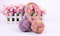 Dog cat Bite Toys Pets Supplies Puppy Cotton Chew Knot ball Durable Braided Bone Rope Funny Tool Random Color
