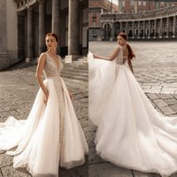 katherine Joyce Mermaid 2021 Beaded Wedding Dresses Bridal Gowns With Detachable Train V Neck Backless Bride Plus Size robes de mariée