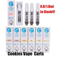 Cookies Carts Vape Atomizer Cartridges 0.8ML 1ML Empty Ceramic Coil Cart Vaporizers Thick Oil Tank With Packaging Box for 510 Thread Battery Pen