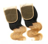 3.5x4 Brazilian Human Hair Body Wave Fechamento Dois Tons Ombre Lace Fechamento Ombre Cor T 1B 27