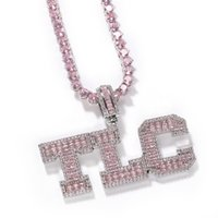 Pink Baguette Solid Letters Custom Name Necklace Pendant With Tennis Chain Iced Out Personalized Jewelry