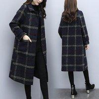 Women's Wool & Blends Jacket Women Coat Over-the-Knee Black Plaid Autumn And Winter Woolen Overcoat Veste Manteau Femme
