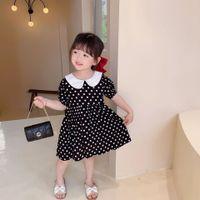 여름 의류 여자 폴카 도트 드레스 어린이 인형 옷깃 짧은 소매 공주 의류 아이 코튼 주름 파티 V478