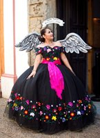 2022 Sexy Black Flowers Embroidery Ball Gown Quinceanera Dresses Off the shoulder Mexican Charra XV Ribbon Tulle Ruched Long Sweet 15 16 Cocktail Prom Evening Dress
