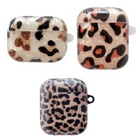 Shell Leopard Grain Earphone Accessories Cases For Apple Airpods Pro 3gen Ear Soft IMD TPU Case Air Pods 1 2 Ears Phone Protector Covers With Carabiner Keychain