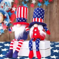 American Independence Day Gnome Red Blue Handmade Patriotic Dwarf Doll Bambola Bambini 4 luglio Regalo Decorazione della casa ZZE5422