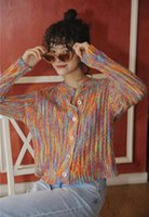 Haterart осень 2021 красочный свитер кардиган женщины с длинным рукавом кнопка радуга свитер вязаный кардиган корейский мода