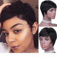 Un cabello humano brasileño Peluca de la máquina de la máquina de la peluca corta PIXIE CORTE WIGS VENDIDO CALIENTE Peladas de hongos bastante cortos para las mujeres negras