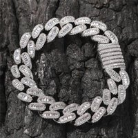 14mm Copper Curb Cuban Link Bracelets Iced Out CZ Bracelet Gold Silver Color For Men