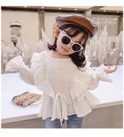 Shirts 2 3 4 5 6 Years Toddler Girls Korean Fashion Ruffled Blouse Kids Clothing Long Sleeves Tops For Girl 2021 Spring Tee