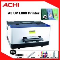Mini UV A5 Printer Flated Digital Automatic Printer Epson L800 For phone case Printing Machine CMYK+WW