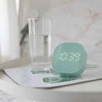 Desk & Table Clocks European Creative Timing Smart Small Alarm Clock Square Mini Cartoon Simple Digital Bedside Luminous Electronic