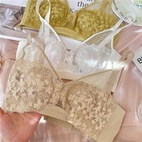 Wriufred Crystal Cup Big Breasts Lingerie Dunne Stripped bease Sexy Hollow Collection Biancheria intima Plus Size Donne Bralette